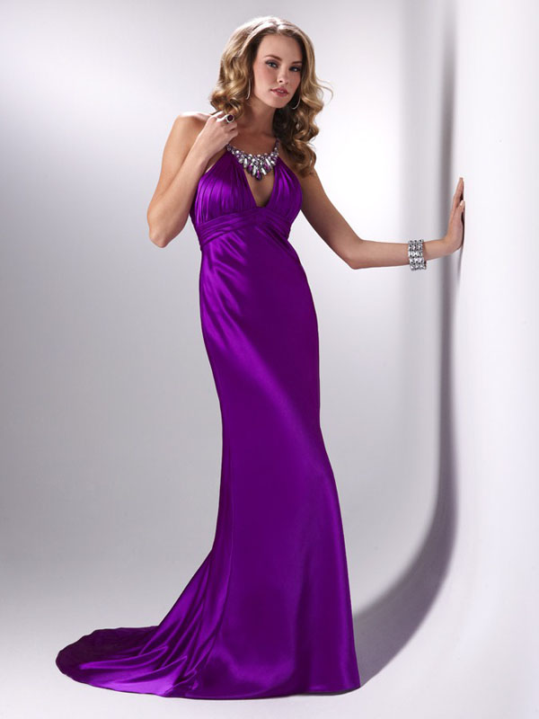 Purple Column Halter Cross Back Sweep Train Full Length Satin Evening Dresses With Jewel