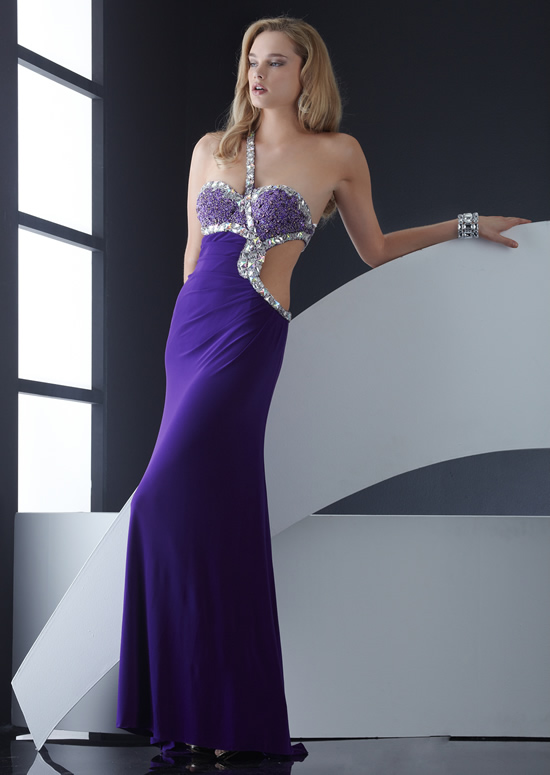 Purple Column One Shoulder Low Back Sweep Train Floor Length Chiffon Evening Dresses With Crystals