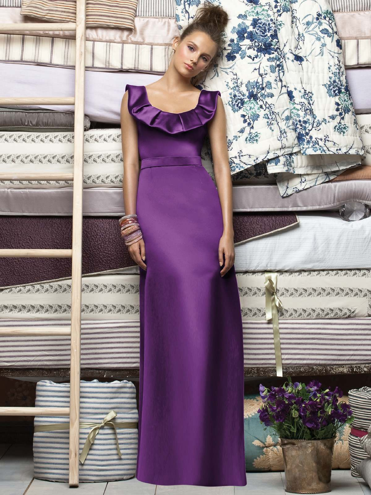Purple Column Scoop And Sleeveless Low Back Full Length Satin Prom Dresses With Ruffles