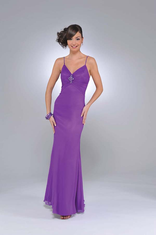 Purple Column Spaghetti Straps And V Neck Zipper Full Length Prom Dresses With Beading And Ruffles