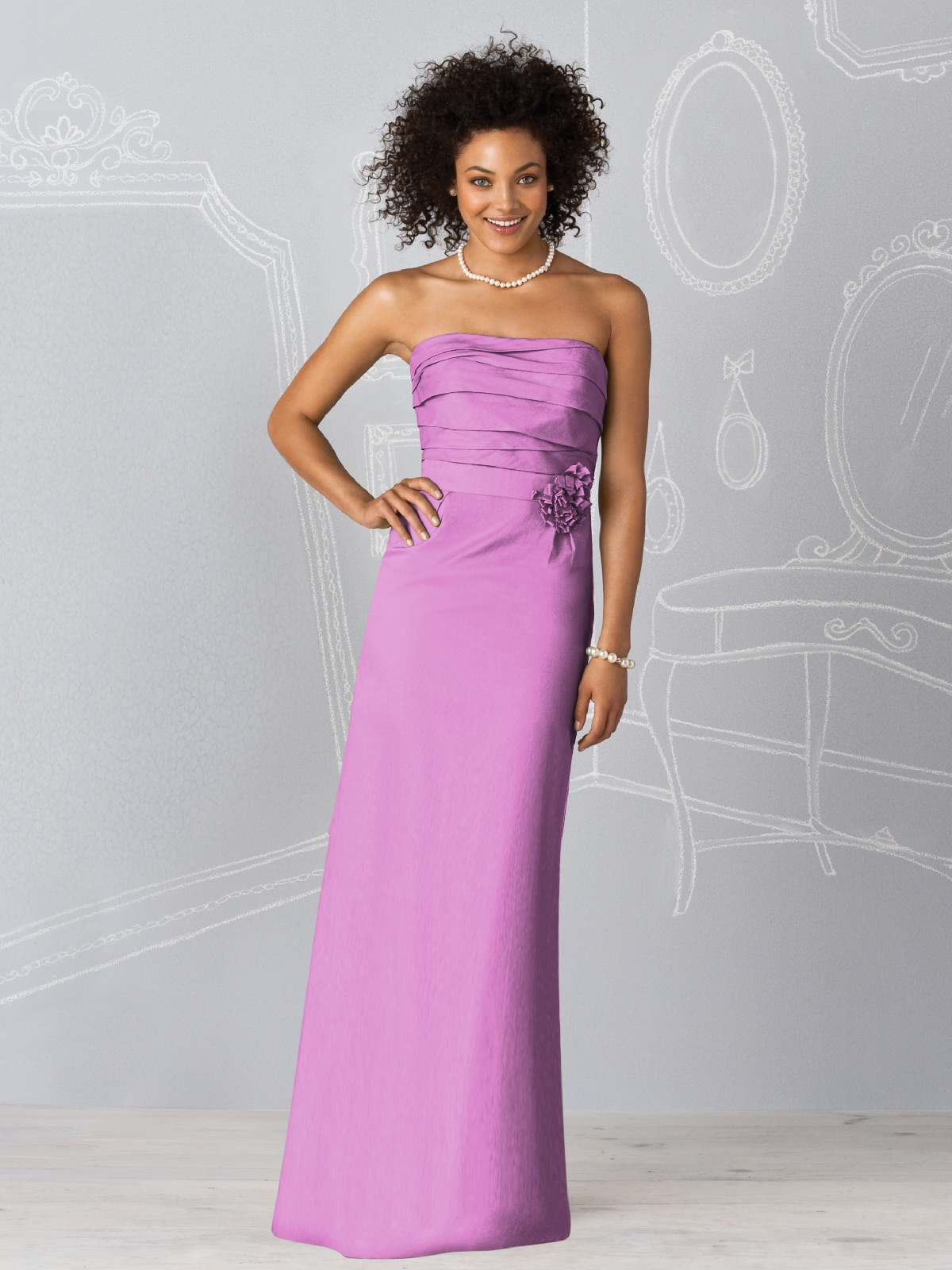 Lilac Column Strapless Zipper Floor Length Prom Dresses With Ruffles And Flowers