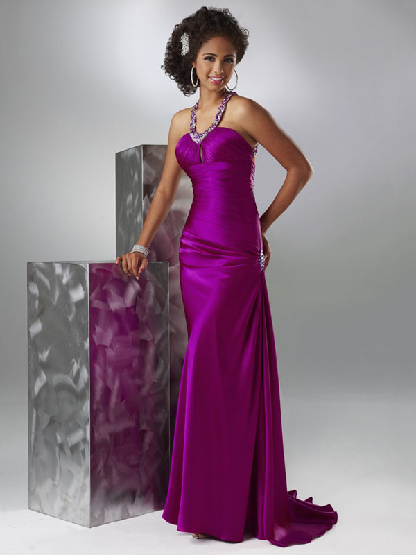 Purple V Neck And Halter Open Back Beading Sweep Train Floor Length Sheath Evening Dresses