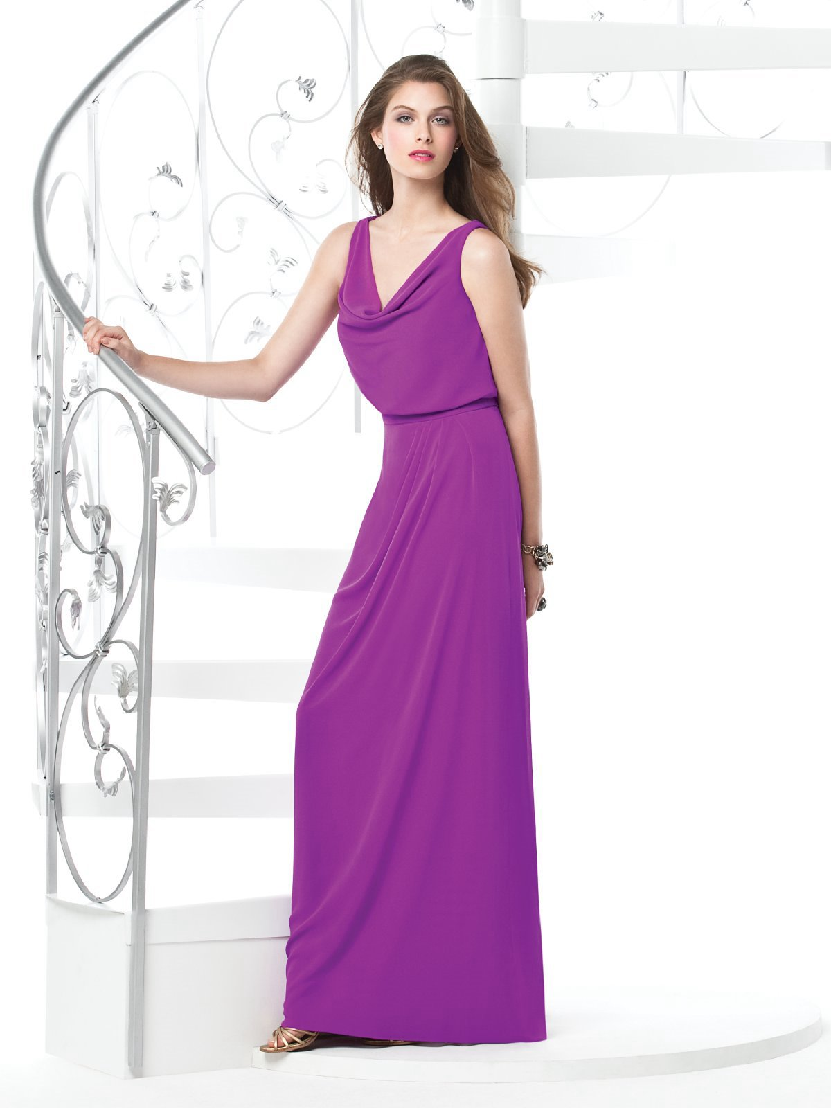 Purple Column V Neck And Sleeveless Zipper Floor Length Chiffon Prom Dresses