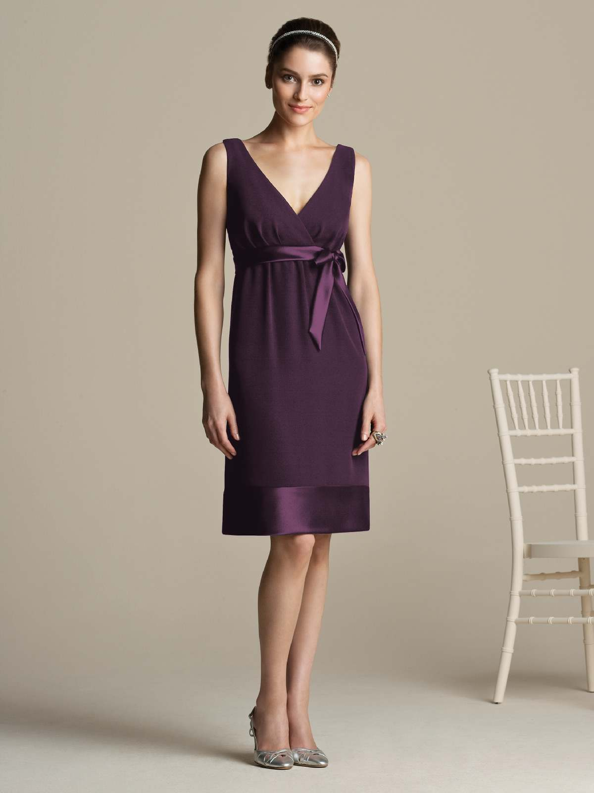 Grape Column V Neck And Strap Low Back Knee Length Prom Dresses With Sash