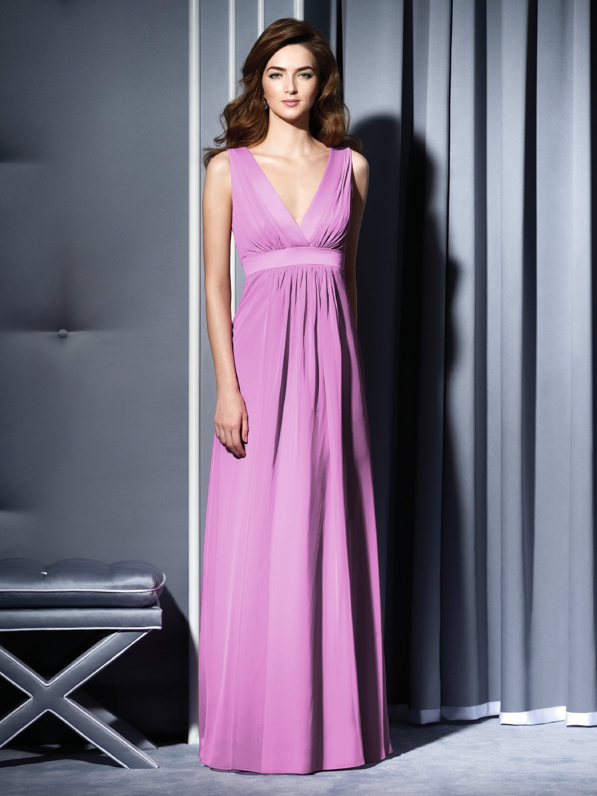 Lilac Empire Deep V Neck And Sleeveless Open Back Floor Length Chiffon Prom Dresses