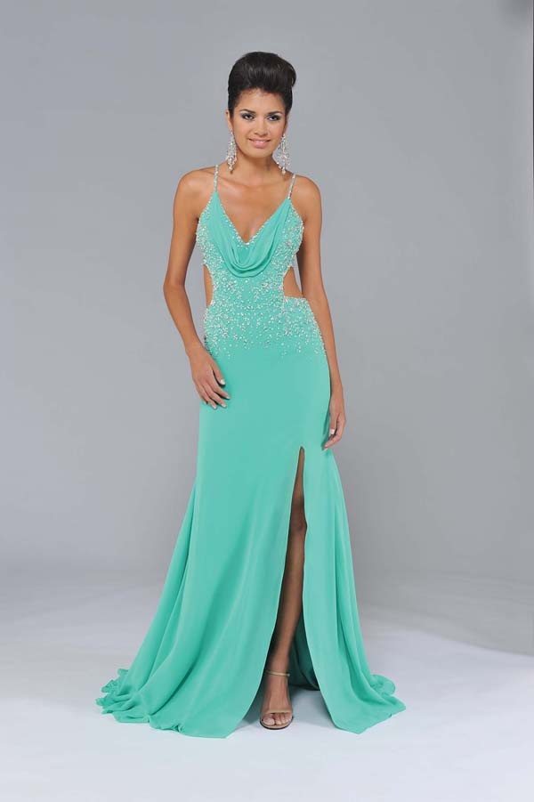 Mint Sheath Spaghetti Straps Cross Back Sweep Train Floor Length Sequin Chiffon Prom Dresses With Side Slit