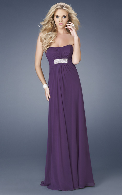 Purple Empire Strapless Low Back Floor Length Chiffon Evening Dresses With Sequins