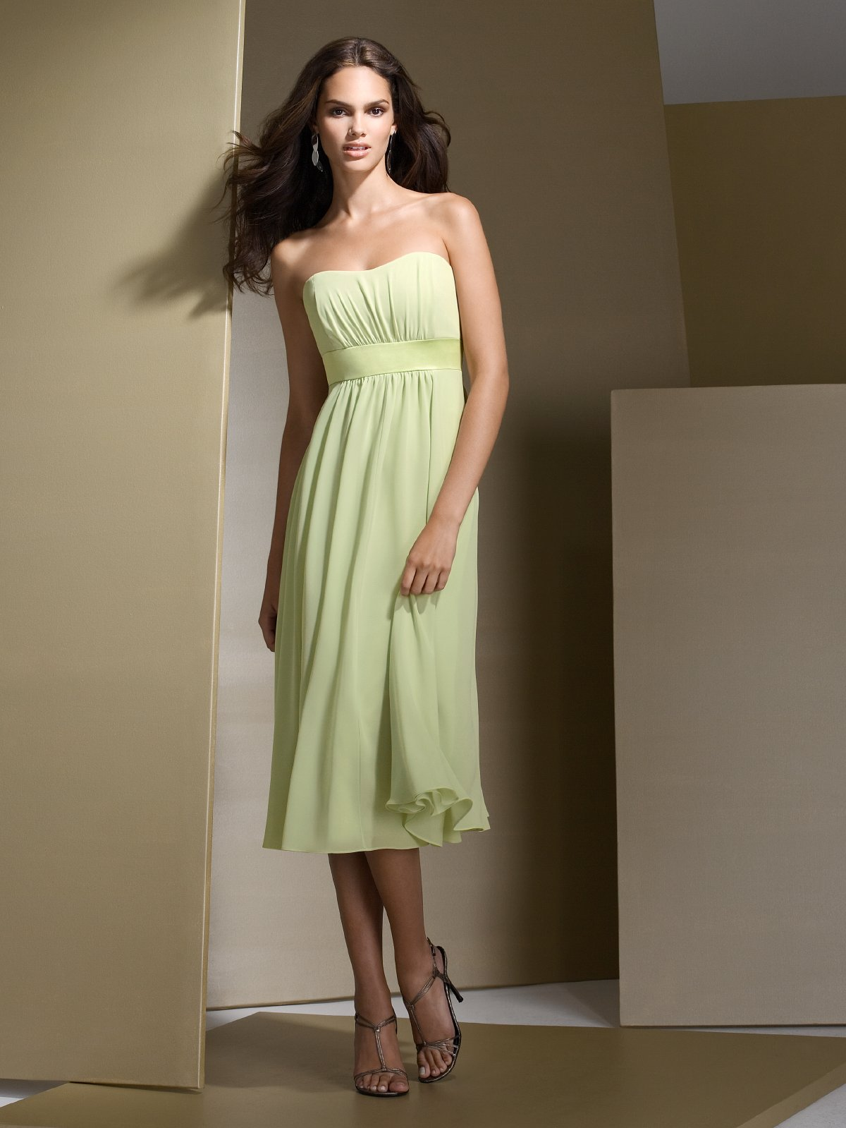 Sage Empire Strapless Sweetheart Zipper Pleated Tea Length Chiffon Prom Dresses