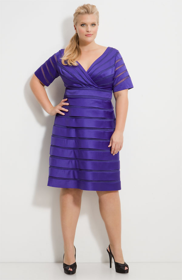 88adc26ff4 Purple Empire V Neck And Short Sleeves Zipper Knee Length Stripe Satin Prom  Dresses