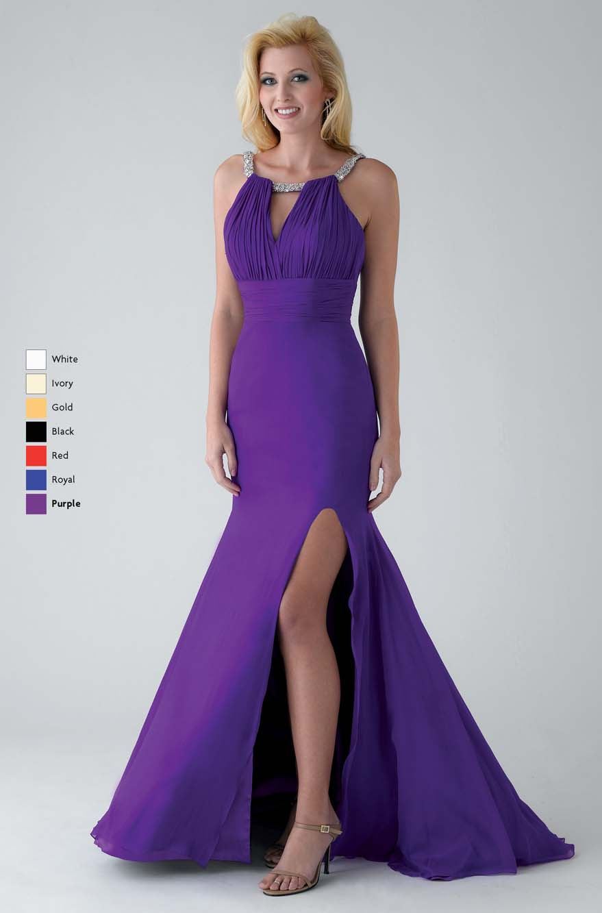 Purple Mermaid Bateau Neck Open Back Sweep Train Floor Length Chiffon Prom Dresses With High Slit
