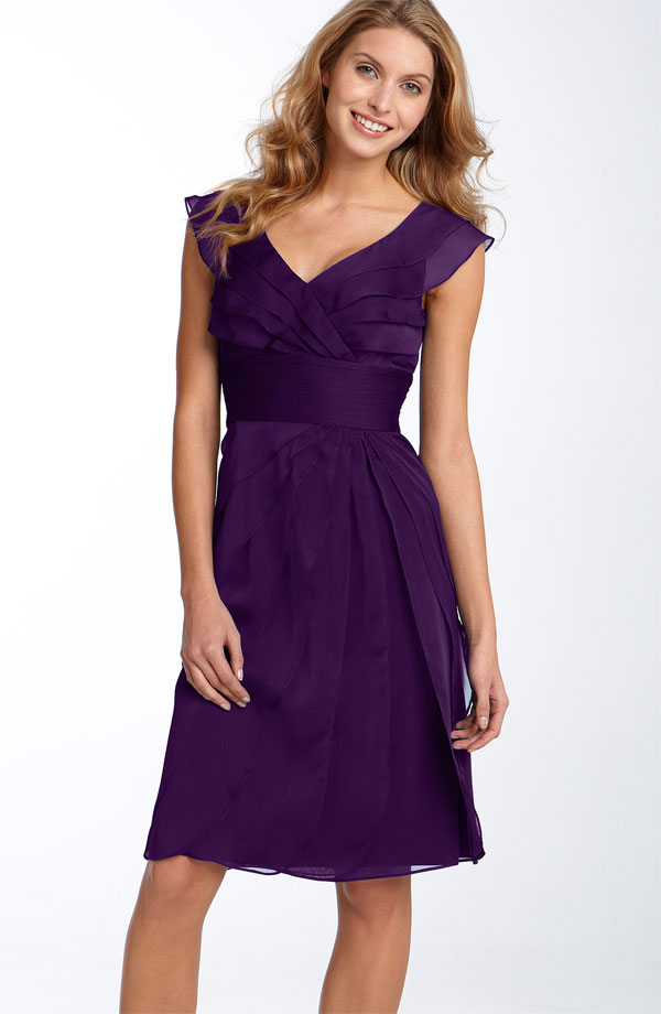 Purple Sheath Column Cap Sleeved V Neck Knee Length Zipper Ruched Chiffon Bridesmaid Dresses