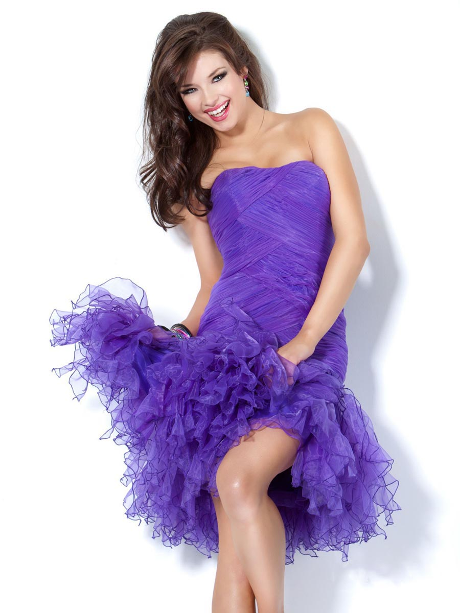 Purple Sheath Strapless Mini Length Zipper Ruched Cocktail Dresses
