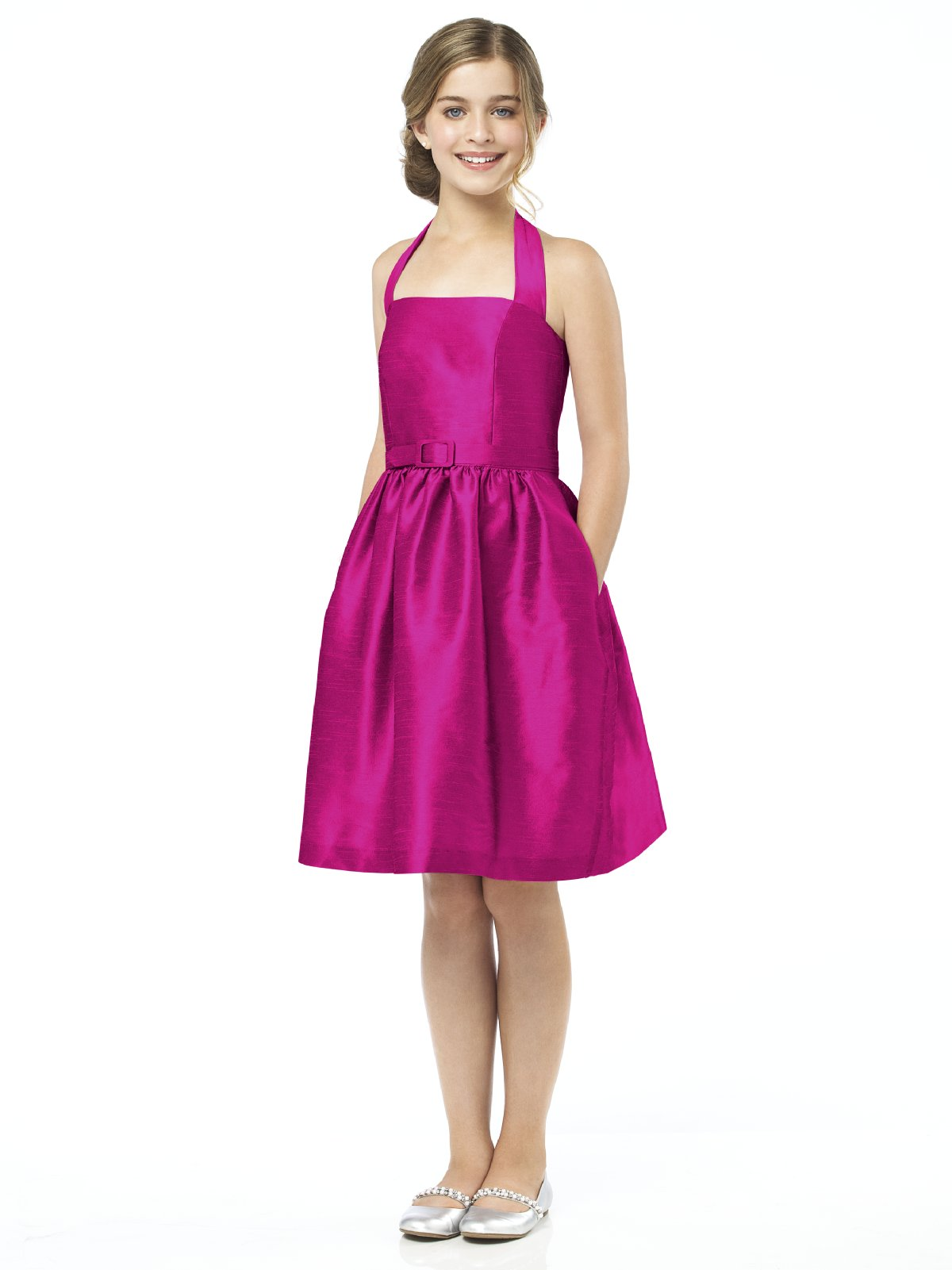 Fuchsia A Line Halter Zipper Knee Length Draped Prom Dresses With Belt And Pocket