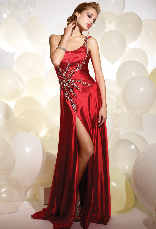 Red A Line One Shoulder Zipper Sweep Train Full Length Evening Dresses With Beading Embroidery And High Slit