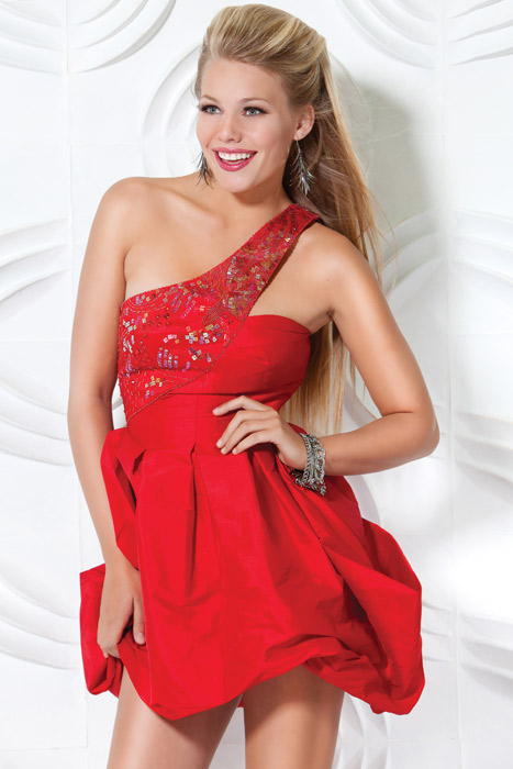 Red A Line One Shoulder Zipper Short Mini Cocktail Dresses With Sequins And Ruffles
