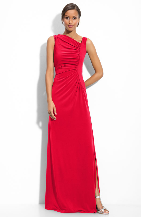 Red A Line Sleeveless Asymmetrical Neckline Floor Length Prom Dresses With High Slit