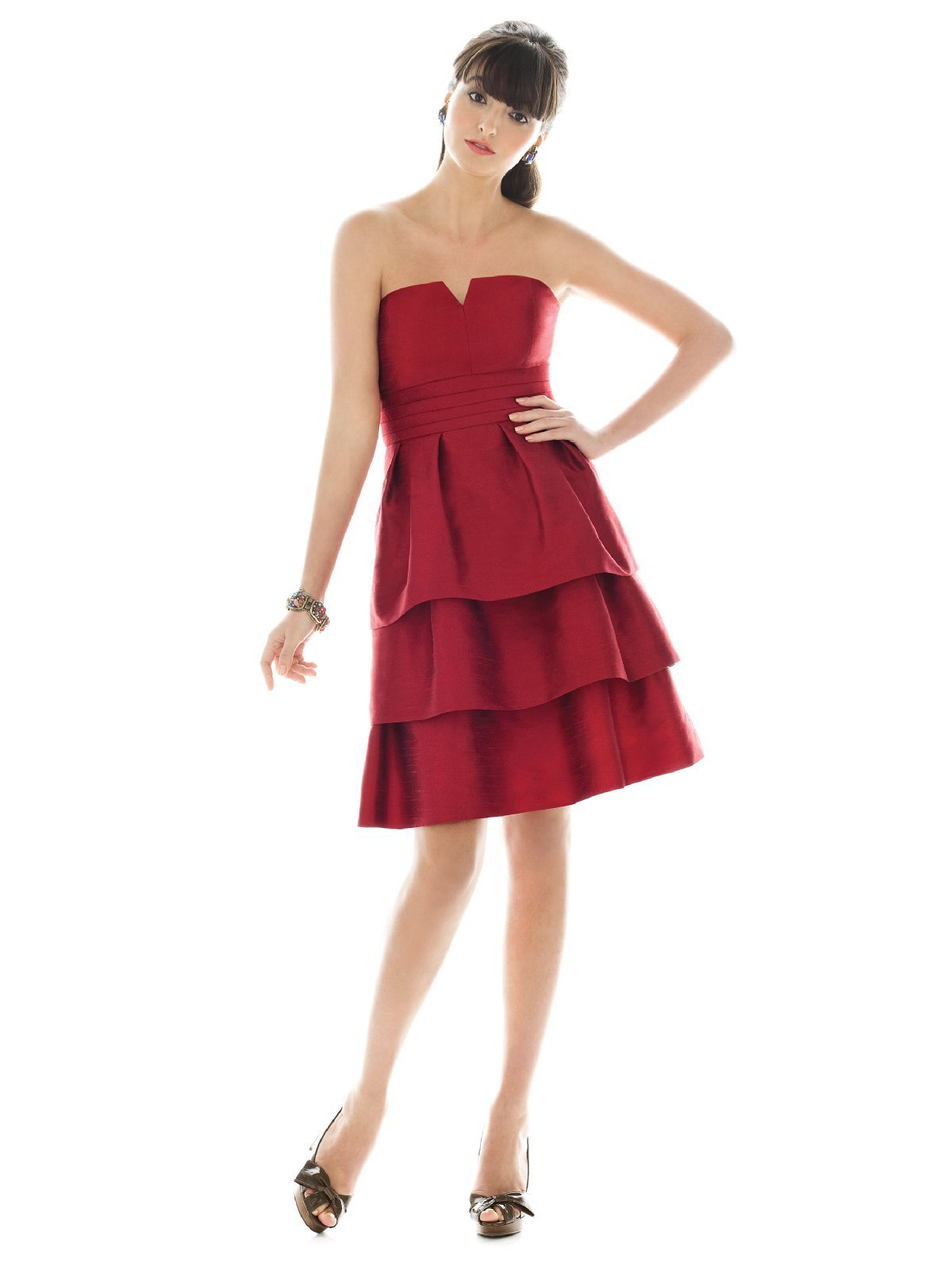 Red A Line Strapless And V Neck Zipper Ruffled Tiered Knee Length Prom Dresses