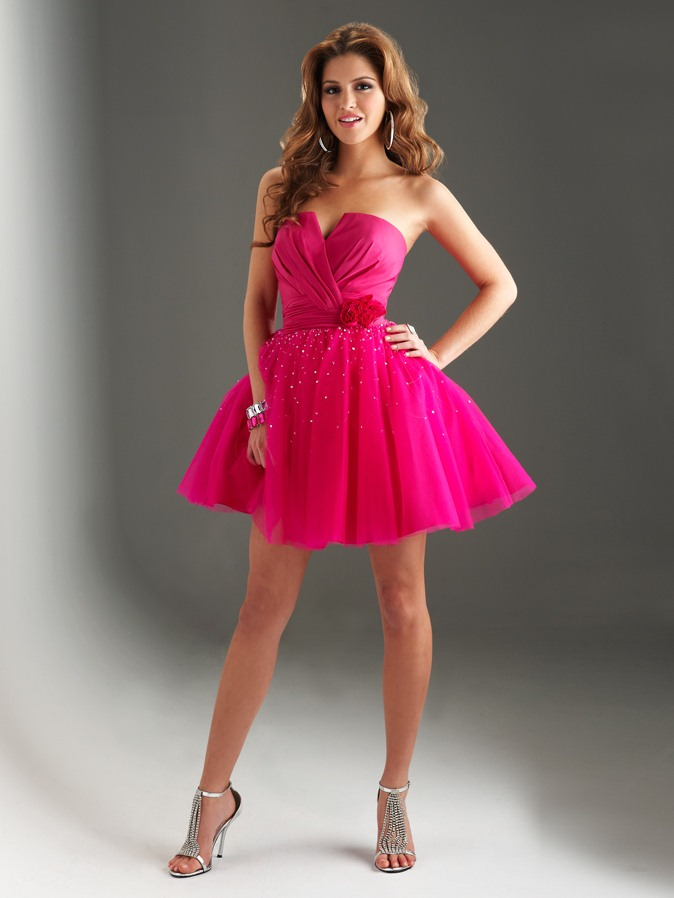 Fuchsia A Line V Neck And Strapless Lace Up Short Mini Homecoming Dresses With Sequins And Flowers