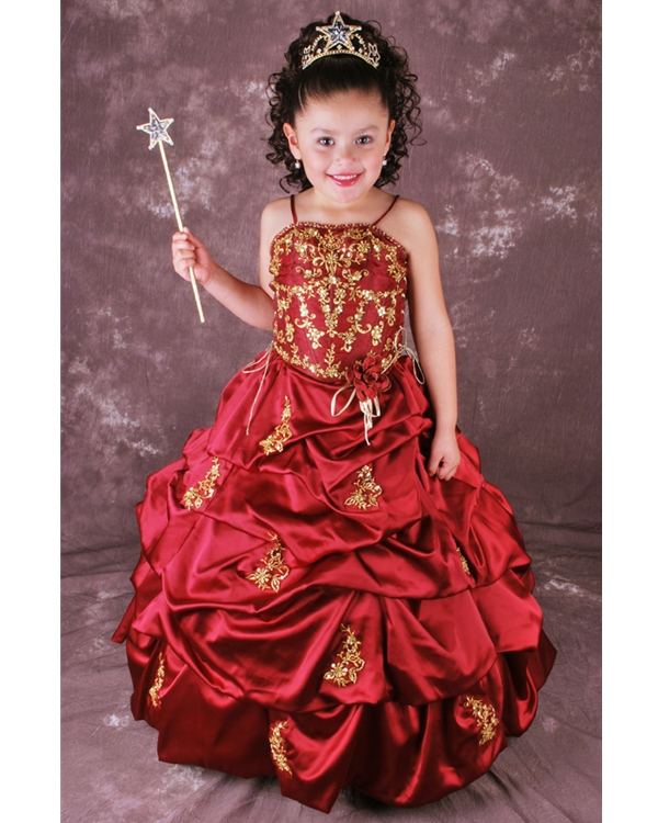 Burgundy Ball Gown Spaghetti Straps Full Length Flower Girl Dresses With Twist Drapes And Gold Embroidery