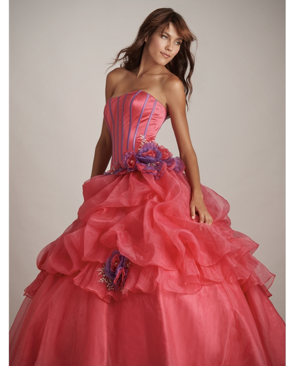 bab8078ddce0 Coral Red Ball Gown Strapless Lace Up Floor Length Quinceanera Dresses With  Flowers And Ruffles