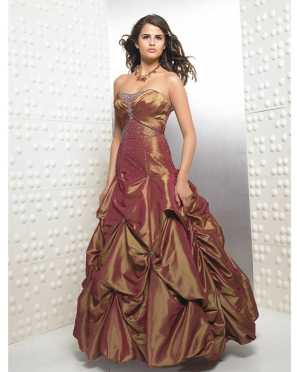 Bronze Ball Gown Strapless Low Back And Lace Up Full Length Ruffled Quinceanera Dresses With Sequins