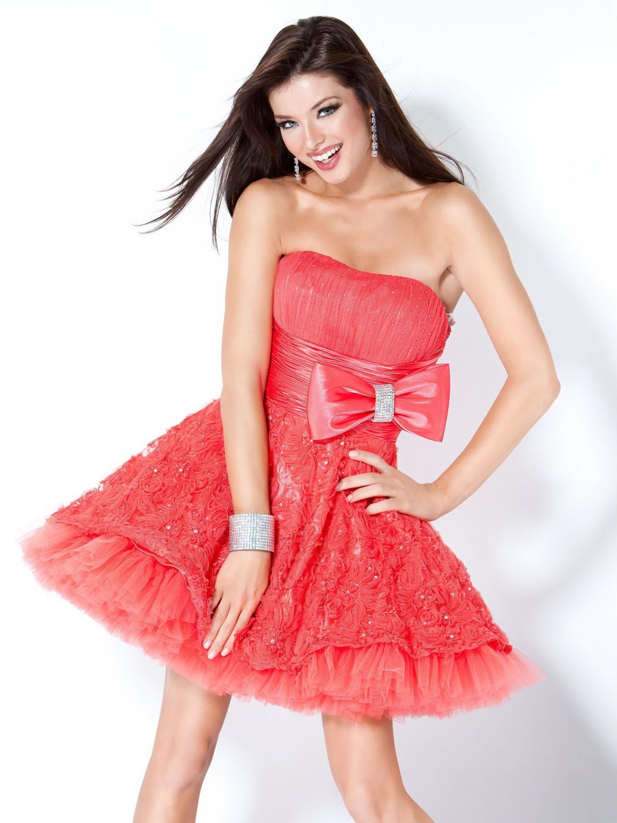 cd4e3d87a5c16 Watermelon Ball Gown Strapless Zipper Mini Length Cocktail Dresses With Bow  And Beads