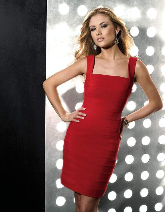 Red Column Square Neckline Short Mini Satin Cocktail Dresses With Sequins
