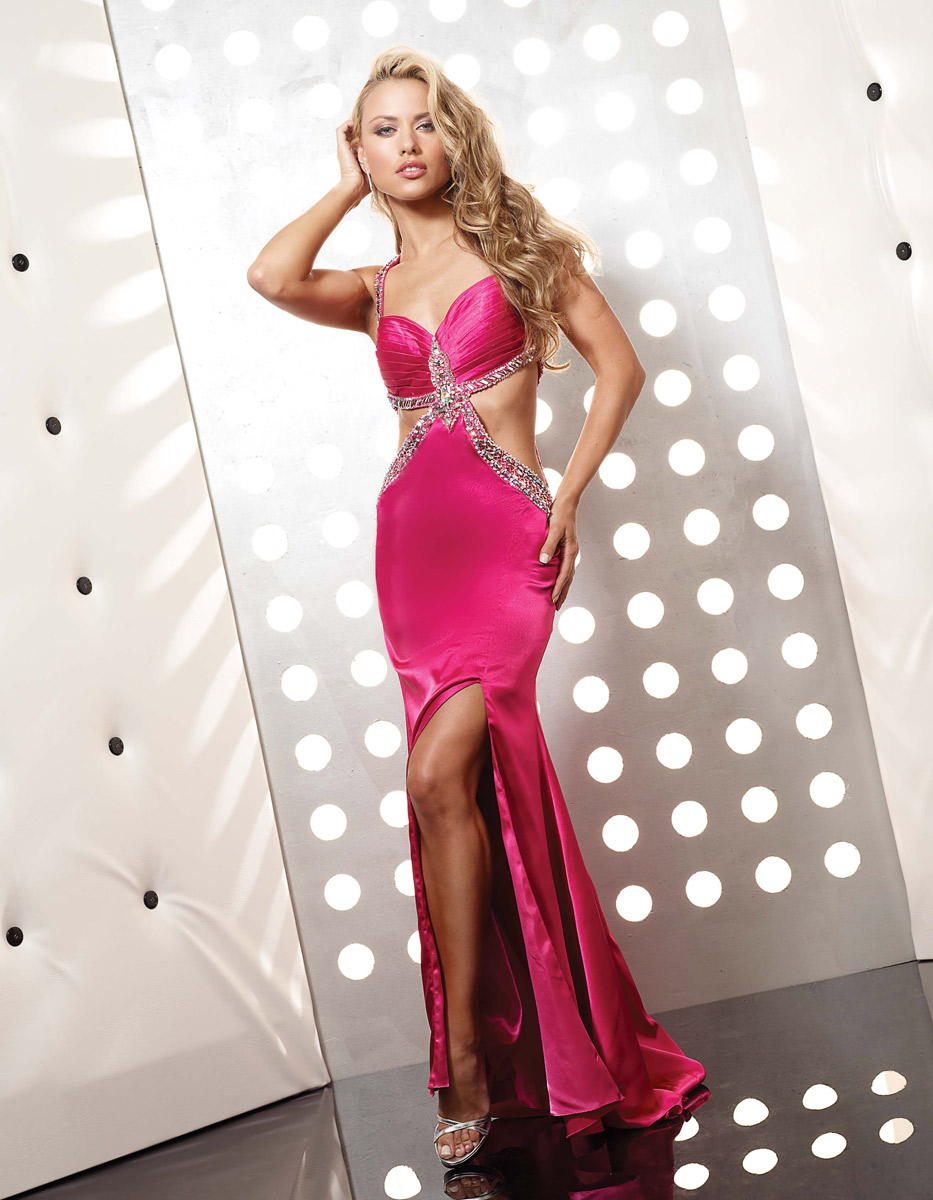 Magenta Column Sweetheart And Halter Cross Back Sweep Train Floor Length Evening Dresses With Beadings And Side Slit