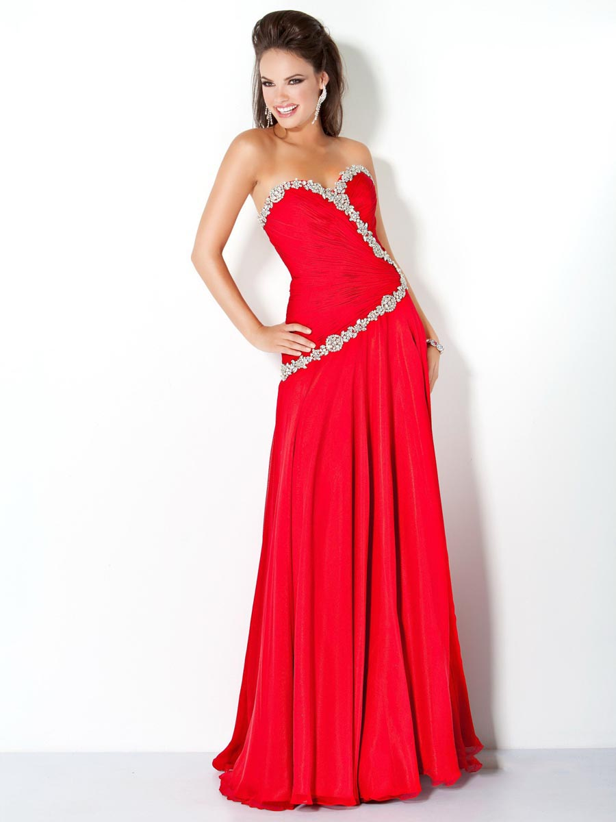 Red Column Sweetheart Full Length Zipper Sweep Train Chiffon Evening Dresses With Beads