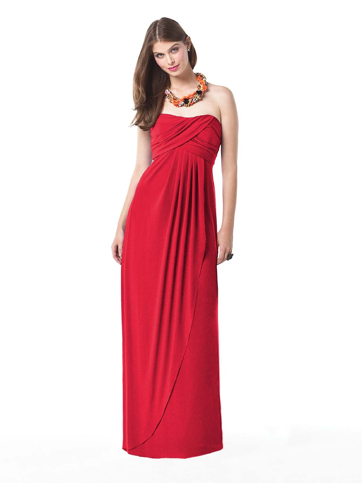 Red Empire Strapless Drape Floor Length Chiffon Prom Dresses With Ruffles