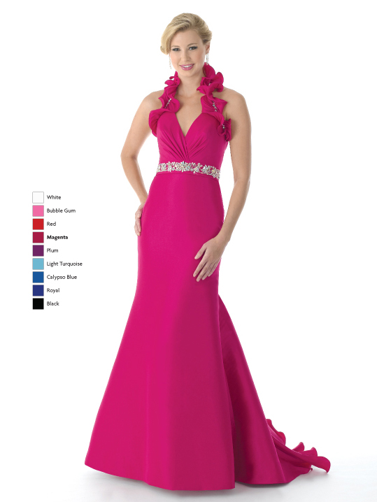 Magenta Mermaid Halter And V Neck Lace Up Sweep Train Full Length Satin Prom Dresses With Beading And Ruffles
