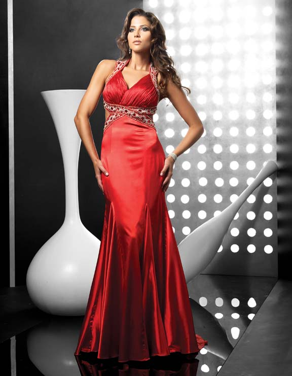 Red Mermaid Halter Full Length Sweep Brush Train Evening Dresses With Beadings