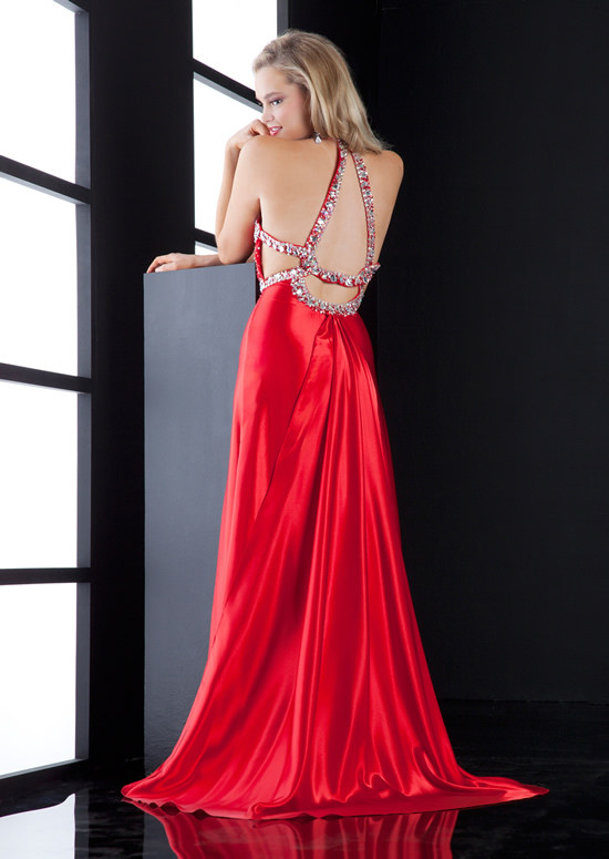 Red Halter Open Back Sweep Train Floor Length Mermaid Evening Dresses With Beading And High Slit