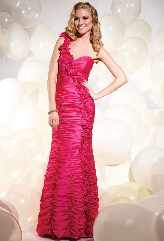 Magenta Mermaid One Shoulder Zipper Full Length Evening Dresses With Rosettes And Drapes