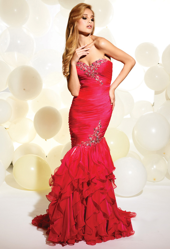 Red Mermaid Strapless Sweetheart Zipper Sweep Train Beading And Ruffles Full Length Evening Dresses