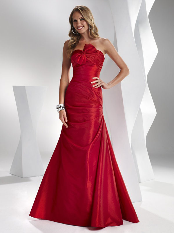 Strapless Full Length Lace Up Red Mermaid Satin Prom Dresses With Bowknot