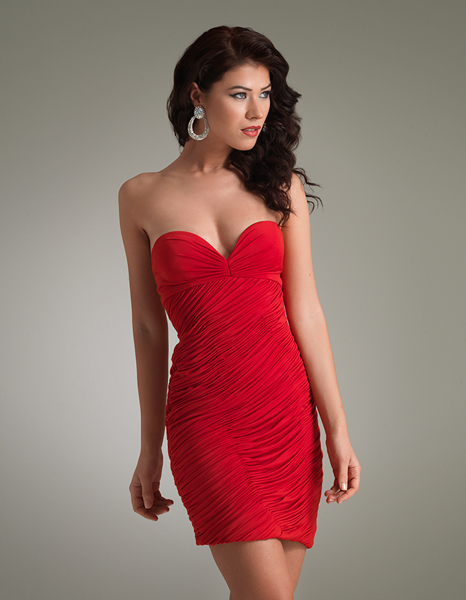 Red Strapless Sweetheart Mini Length Zipper Sheath Chiffon Cocktail Dresses With Ruffles