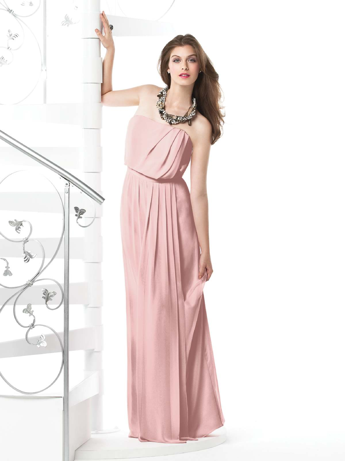 Pearl Pink Column Strapless Zipper Floor Length Chiffon Prom Dresses With Drapes
