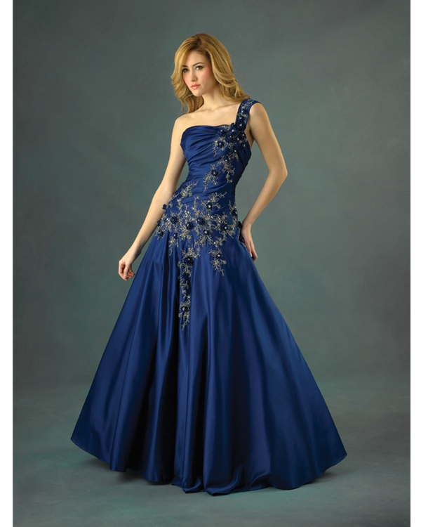 Navy Blue A Line One Shoulder Lace Up Floor Length Quinceanera Dresses With Beading Embroidery