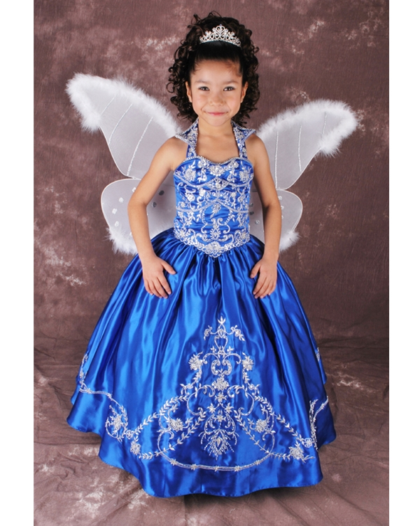 Royal Blue Halter Bandage Floor Length Ball Gown Flower Girl Dresses With White Embroidery