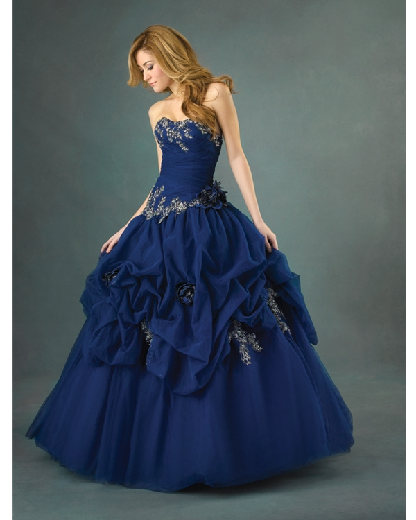 Royal Blue Ball Gown Strapless Sweetheart Lace Up Full Length Quinceanera Dresses With Embroidery And Flowers And Ruffles