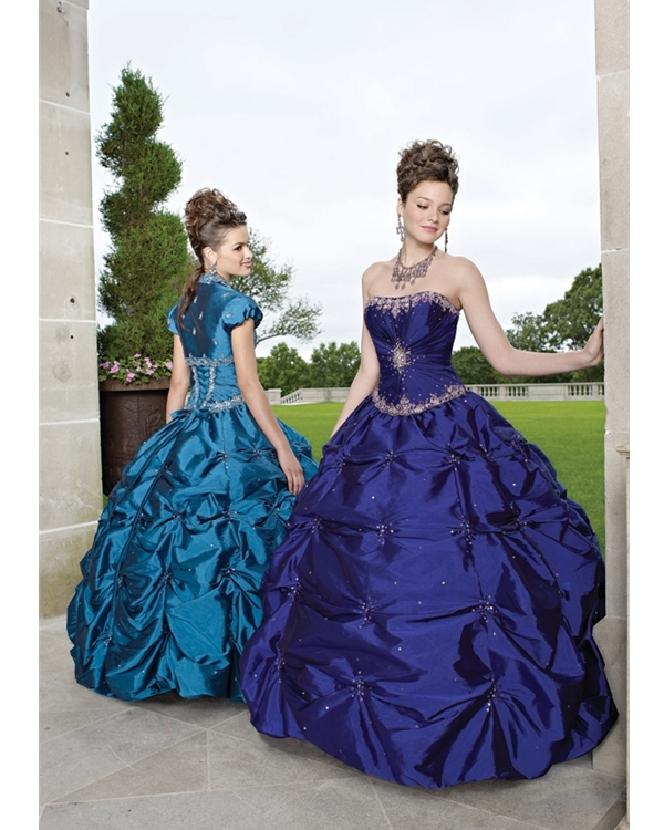 Royal Blue Ball Gown Strapless Lace Up Beaded And Pleated Full Length Quinceanera Dresses