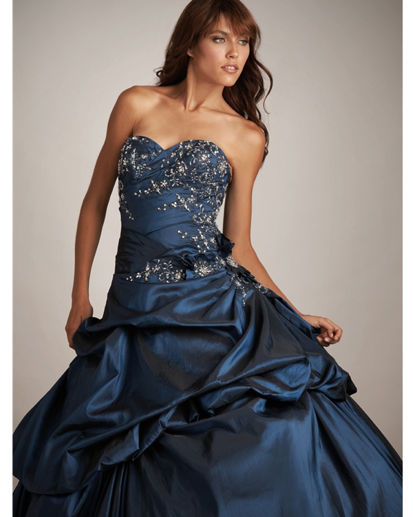Navy Blue Ball Gown Strapless Sweetheart Lace Up Floor Length Quinceanera Dresses With Beading Embroidery And Twist Drapes