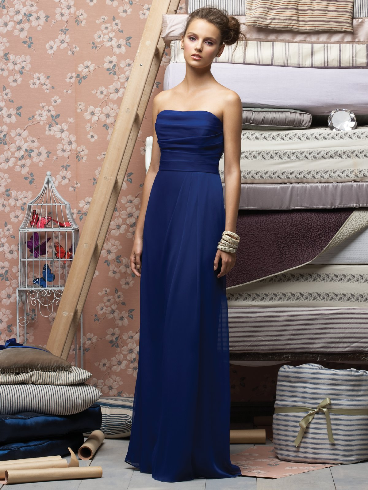 Best Selling Royal Blue Column Strapless Floor Length Ruffled Chiffon Prom Dresses