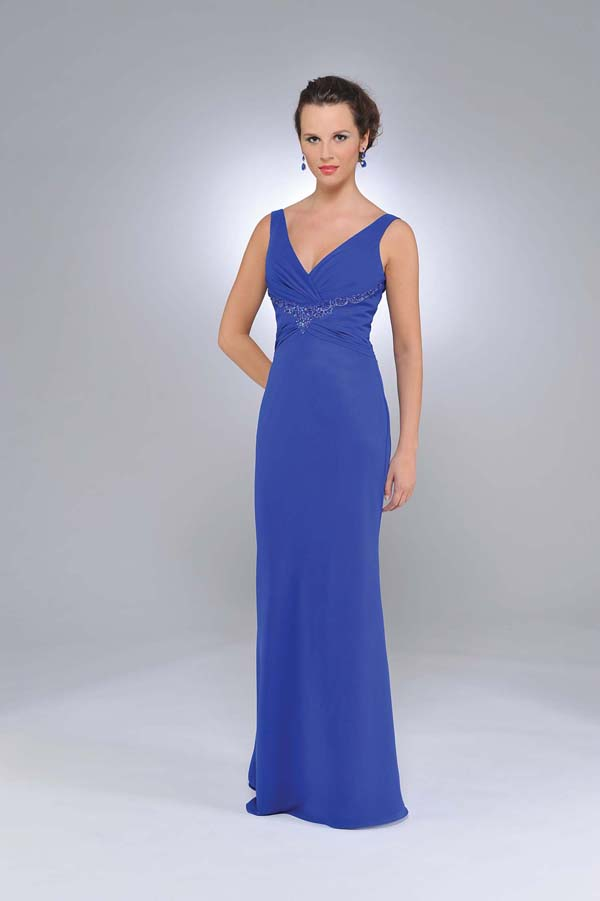 Hot Sale Royal Blue Column V Neck And Strap Zipper Floor Length Chiffon Prom Dresses