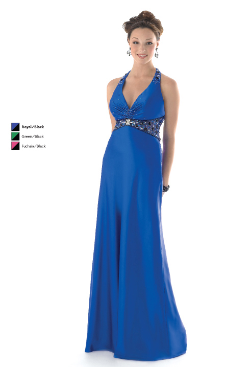 Royal Blue Empire Halter And Deep V Neck Open Back Floor Length Chiffon Prom Dresses With Jewel