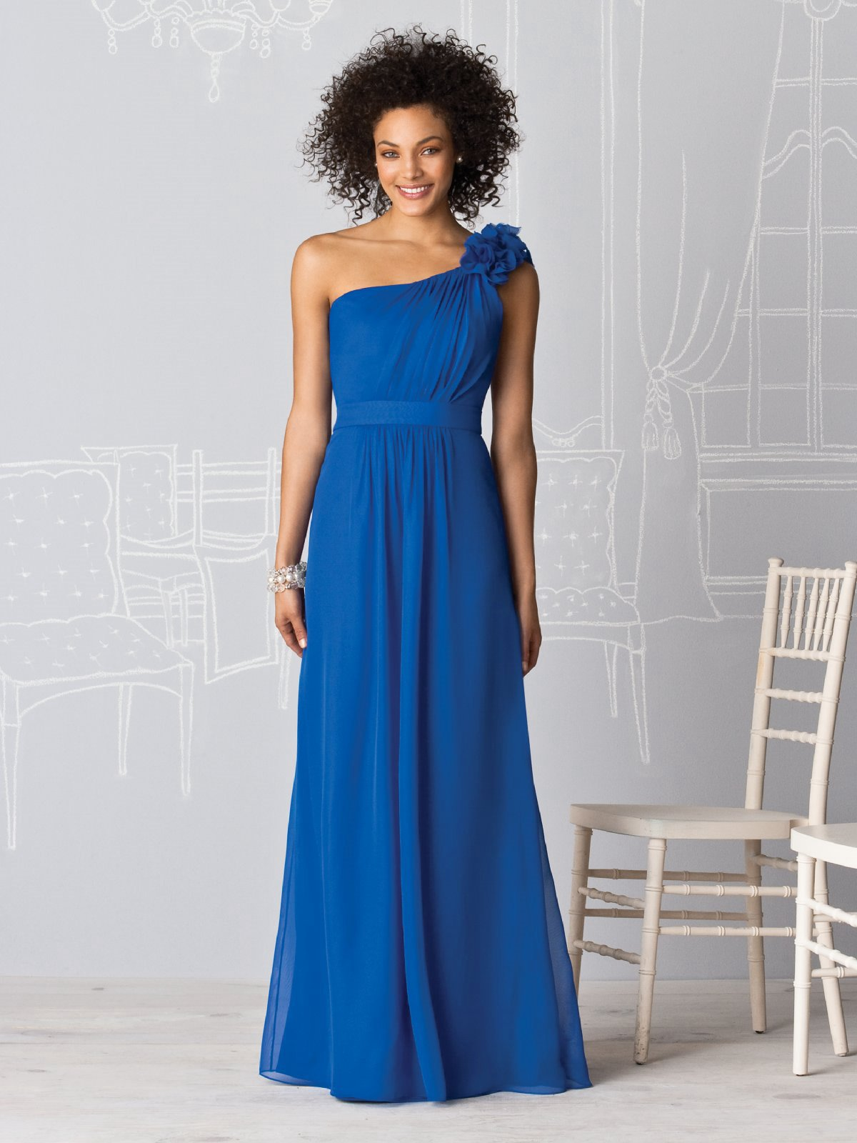 Royal Blue A Line One Shoulder Low Back Floor Length Chiffon Prom Dresses With Drapes And Rosette
