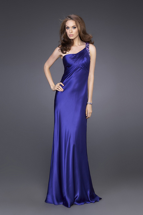 Sapphire Column One Shoulder Transparent Back Sweep Train Floor Length Evening Dresses With Beading