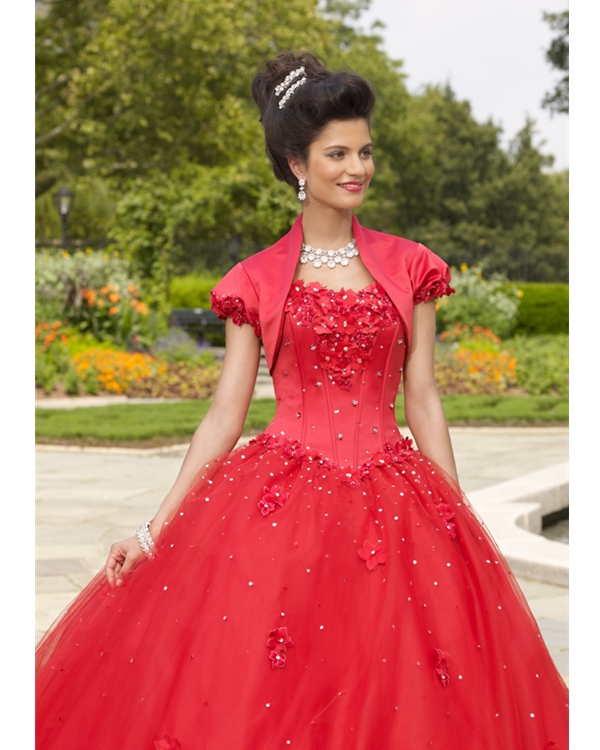 Scarlet Ball Gown Strapless Lace Up Full Length Quinceanera Dresses With Appliques And Sequins