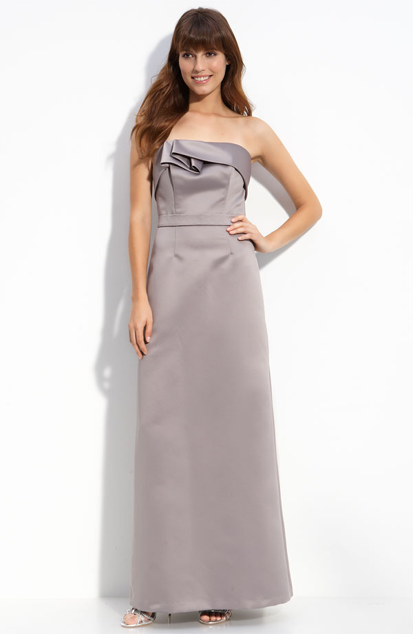 Silver A Line Strapless Ankle Length Satin Prom Dresses With Ruffles